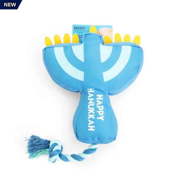 Merry Makings Hanukkah Light Up the Night Menorah Plush & Rope Dog Toy, Large - Carousel image #1