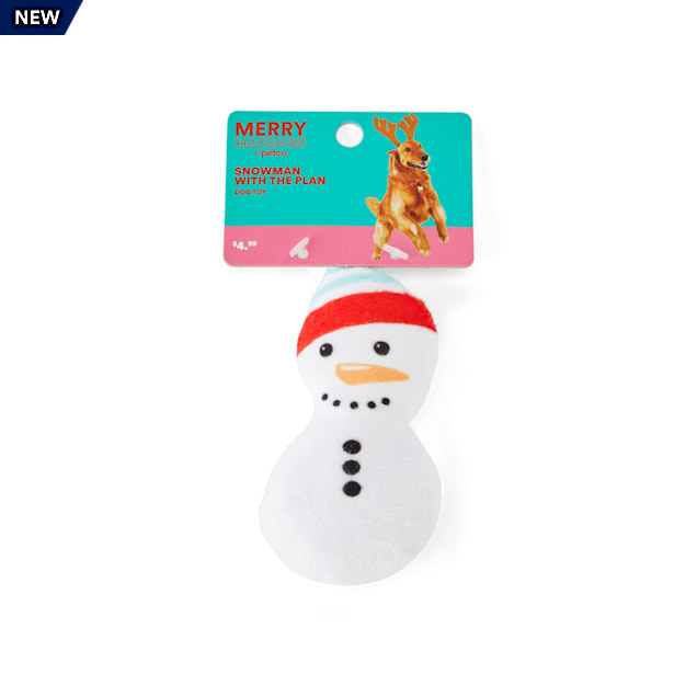 Merry Makings Snowman With the Plan Plush Dog Toy, X-Small - Carousel image #1