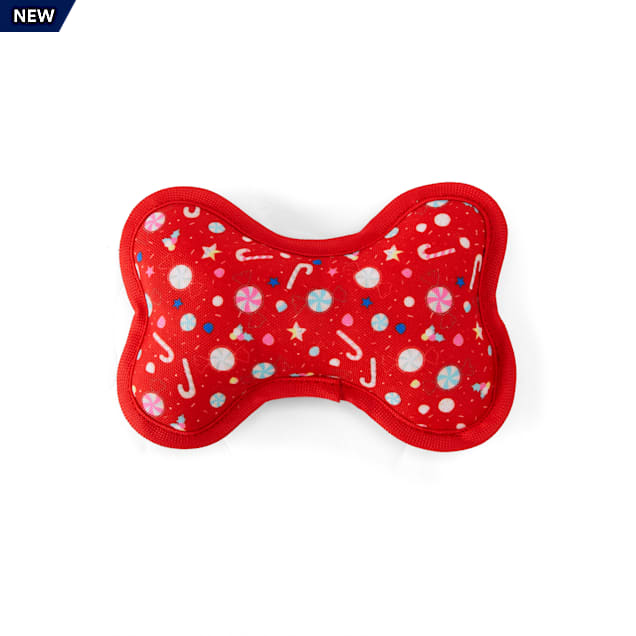 Merry Makings Sweet Tidings Candy Printed Plush Red Bone Dog Toy, Small - Carousel image #1