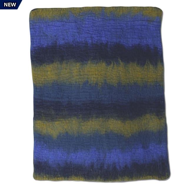 "Dharma Dog Karma Cat Navy Multi Ombre Wool Pet Mat, 24"" L X 18"" W - Carousel image #1"