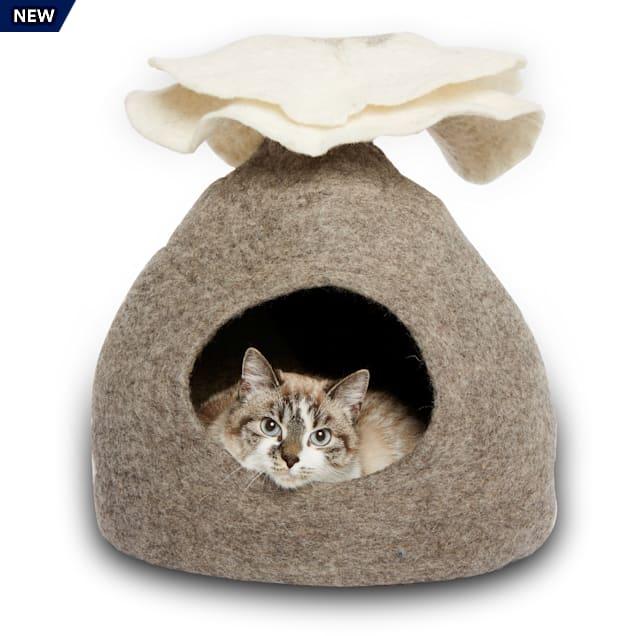 "Dharma Dog Karma Cat Natural Bouquet Wool Pet Cave, 14"" L X 12"" W X 14"" H - Carousel image #1"