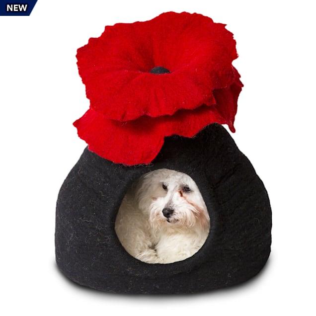 "Dharma Dog Karma Cat Black & Red Bouquet Wool Pet Cave, 14"" L X 12"" W X 14"" H - Carousel image #1"