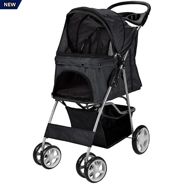 Paws & Pals Black EZ Walk 4 Wheel Pet Stroller - Carousel image #1
