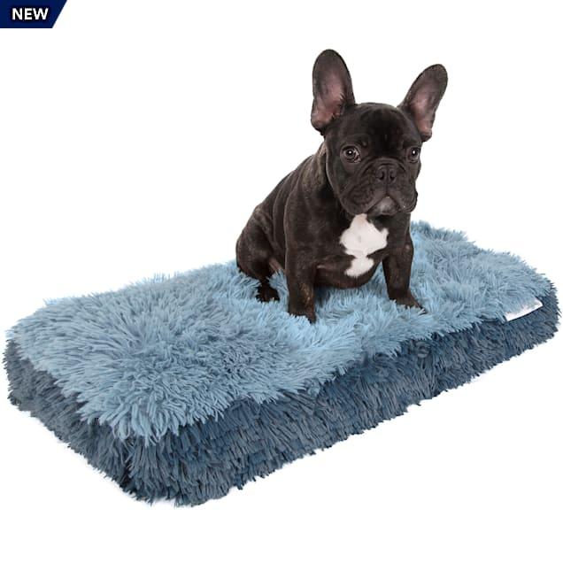 "Paws & Pals Blue Fuzzy Pet Bed, 14"" L X 24"" W X 2"" H - Carousel image #1"