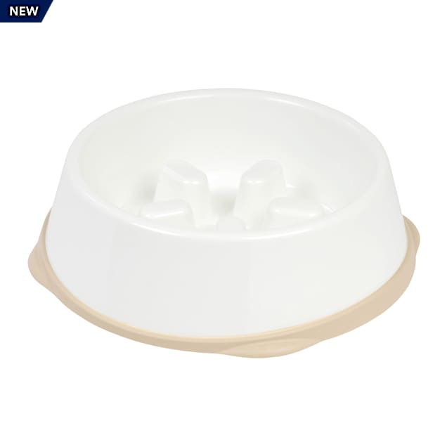 Iris White/Beige Slow Feeding Dog Bowl for Short Snouted Pets, 4 Cup - Carousel image #1