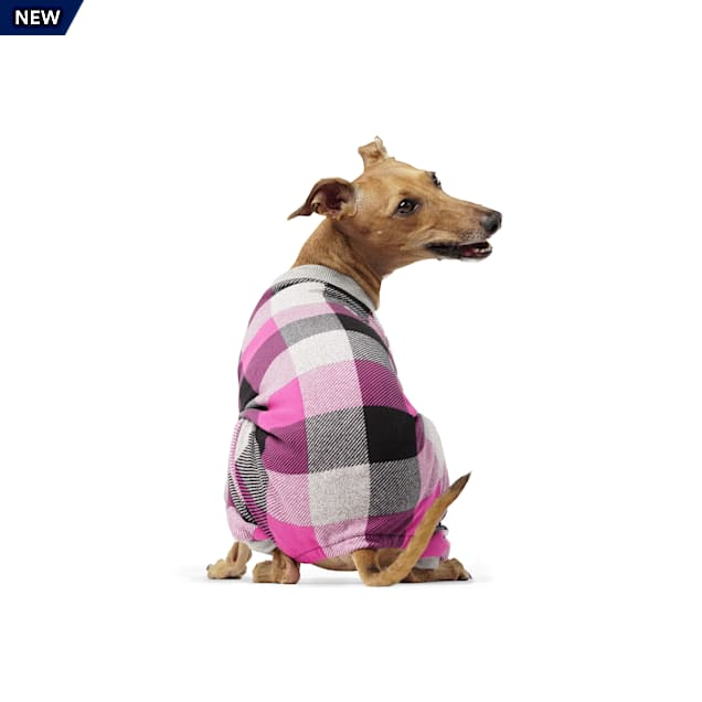 Canada Pooch Frosty Fleece Dog Sweatsuit Pink Plaid Size 8, 3X-Small - Carousel image #1