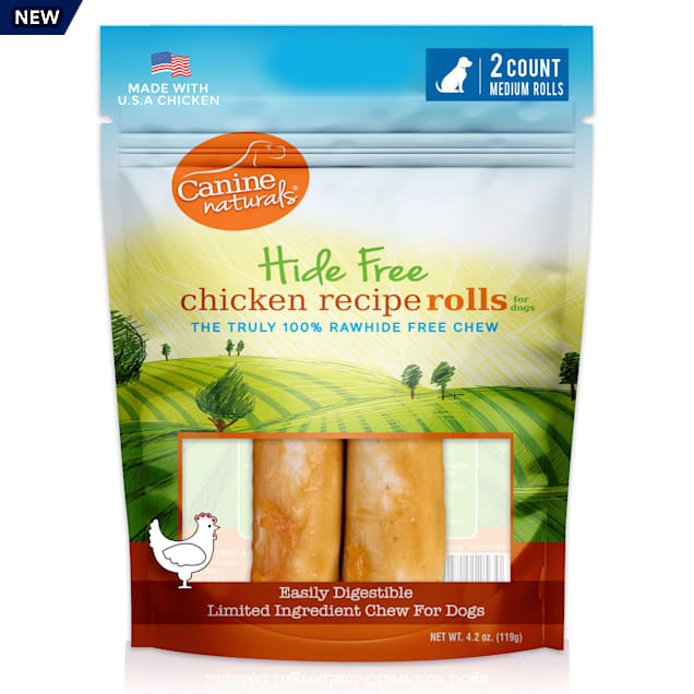 Canine Naturals Rawhide Free Chicken Recipe Medium Dog Chews, 4.2 oz., Count of 2 - Carousel image #1
