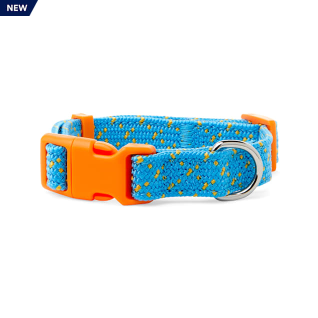 YOULY The Artist Teal & Orange Dotted Webbed Nylon Dog Collar, Small - Carousel image #1
