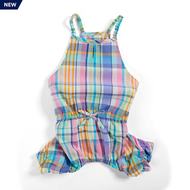 YOULY The Sophisticate Multicolor Woven Plaid Dog Romper, XX-Small - Carousel image #1