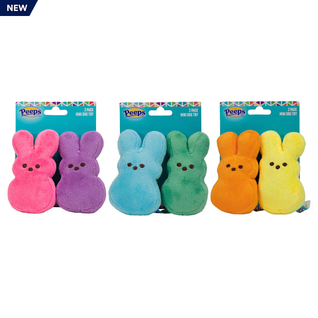 Peeps for Pets 2 Piece Mini Plush Bunnies with Assorted Color Dog Toys, X-Small - Carousel image #1