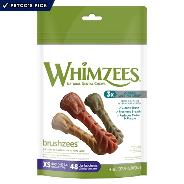 Whimzees Natural Grain Free Daily Dental Long Lasting Brushzees X-Small Dog Treats, 12.7 oz., Pack of 48 - Carousel image #1