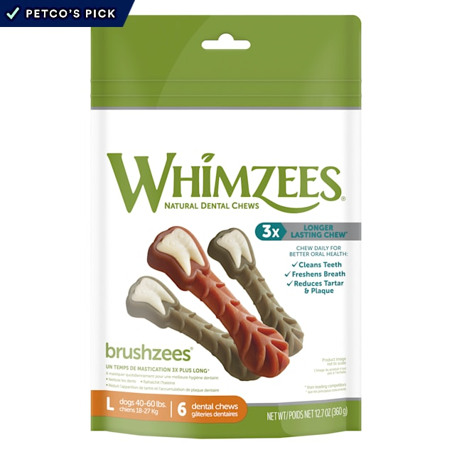 Whimzees Natural Grain Free Daily Dental Long Lasting Brushzees Large Dog Treats, 12.7 oz., Pack of 6 - Carousel image #1