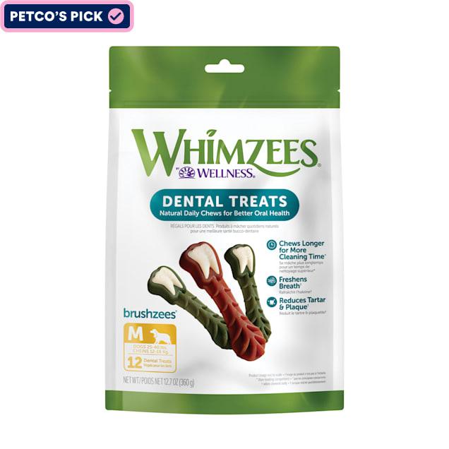 Whimzees Natural Grain Free Daily Dental Long Lasting Brushzees Medium Dog Treats, 12.7 oz., Pack of 12 - Carousel image #1