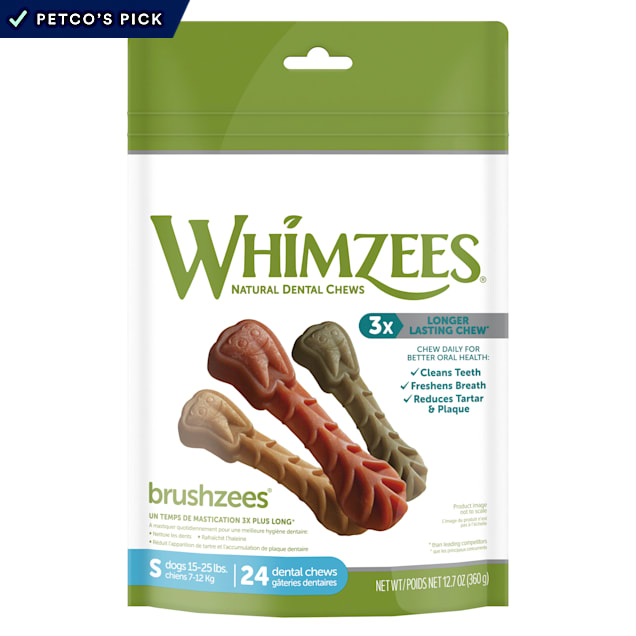 Whimzees Natural Grain Free Daily Dental Long Lasting Brushzees Small Dog Treats, 12.7 oz., Pack of 24 - Carousel image #1