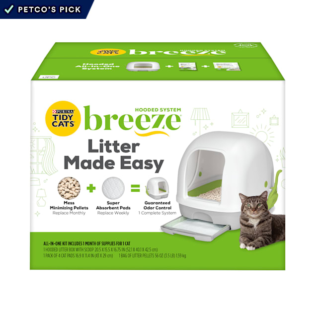 Purina Tidy Breeze Hooded Litter Box System Starter Kit With Pellets & Pads for Cats - Carousel image #1