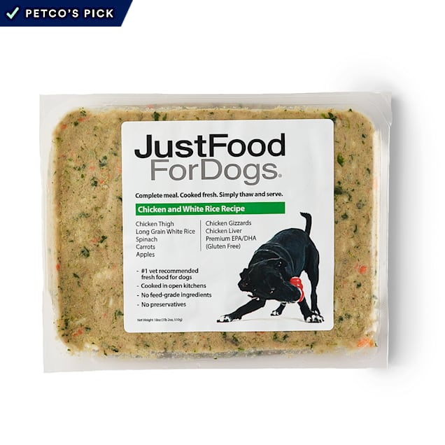 JustFoodForDogs Daily Diets Chicken & White Rice Frozen Dog Food, 18 oz. - Carousel image #1