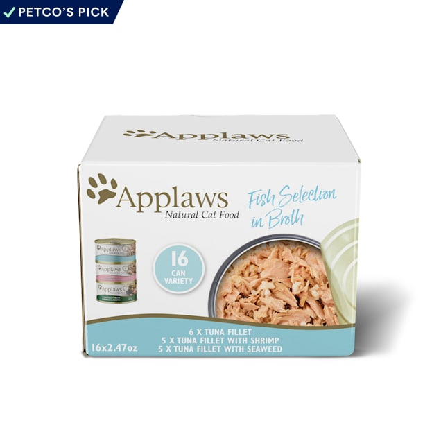 Applaws Natural Fish Selection in Broth Multipack Wet Cat Food, 2.47 oz., Count of 16 - Carousel image #1