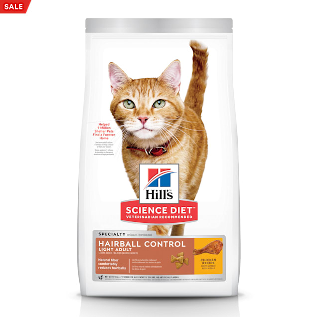 Hill's Science Diet Adult Hairball Control Light Chicken Recipe Dry Cat Food, 15.5 lbs., Bag - Carousel image #1
