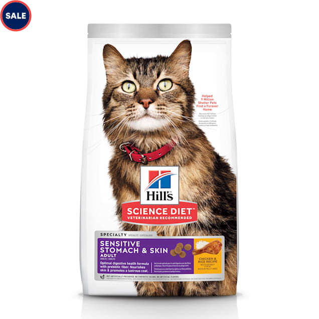 Hill's Science Diet Adult Sensitive Stomach & Skin Chicken & Rice Recipe Dry Cat Food, 15.5 lbs. - Carousel image #1
