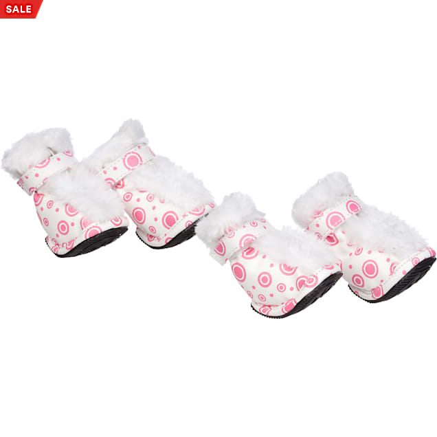 Pet Life Pink & White Ultra Fur Boots for Dogs, X-Small - Carousel image #1