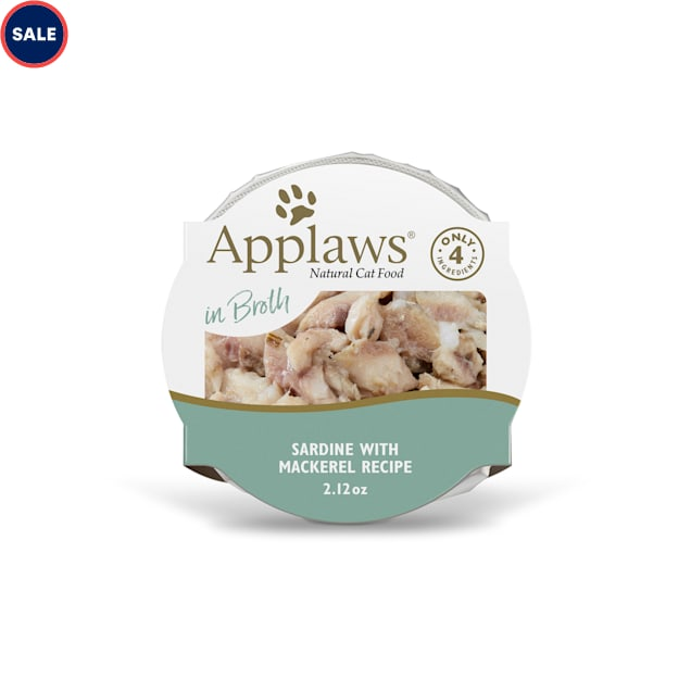 Applaws Natural Wet Sardine with Mackerel in Broth Wet Cat Food, 2.12 oz., Case of 18 - Carousel image #1