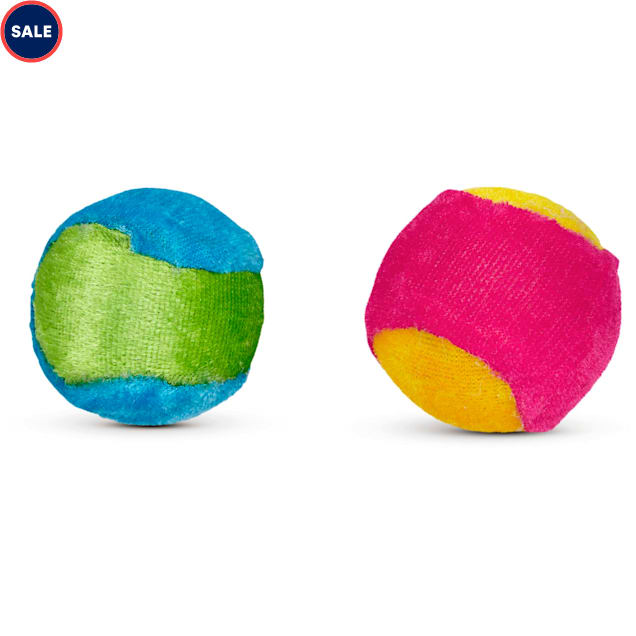 Leaps & Bounds Plush Ball Cat Toy in Assorted Colors - Carousel image #1