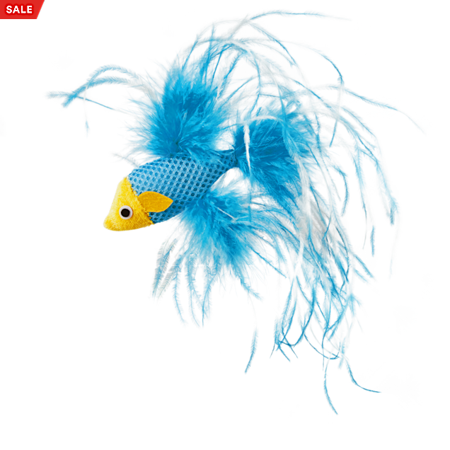 """Leaps & Bounds Feathered Fish Cat Toy with Catnip, 4.5"""" Length - Carousel image #1"""