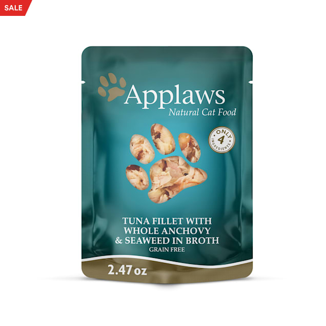 Applaws Natural Tuna with whole Anchovy and Seaweed in Broth Wet Cat Food, 2.47 oz., Case of 12 - Carousel image #1