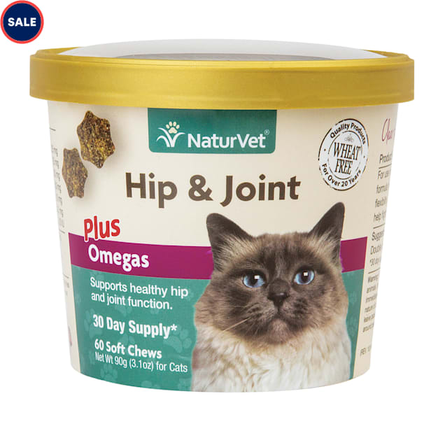 NaturVet Hip & Joint Cat Supplement, Pack of 60 Soft Chews - Carousel image #1