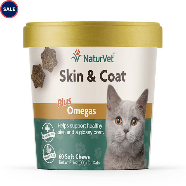 NaturVet Skin & Coat Cat Supplement, Pack of 60 Soft Chews - Carousel image #1