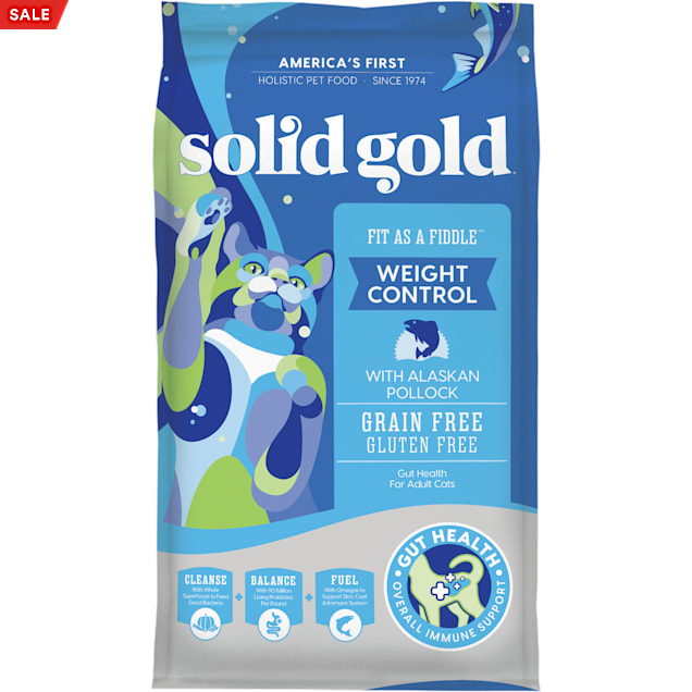 Solid Gold Grain-Free & Gluten Free Fit as a Fiddle with Fresh Caught Alaskan Pollock Adult Dry Cat Food, 12 lbs. - Carousel image #1