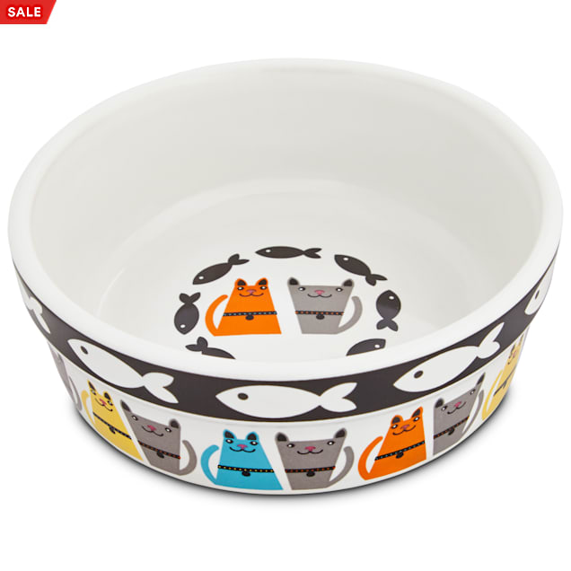 "Harmony Tough Guys Ceramic Cat Bowl, 1.75"" H X 5"" Diameter, 1 Cup - Carousel image #1"