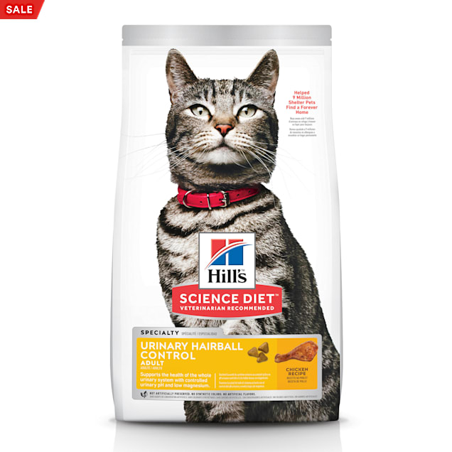 Hill's Science Diet Adult Urinary & Hairball Control Chicken Recipe Dry Cat Food, 15.5 lbs. - Carousel image #1
