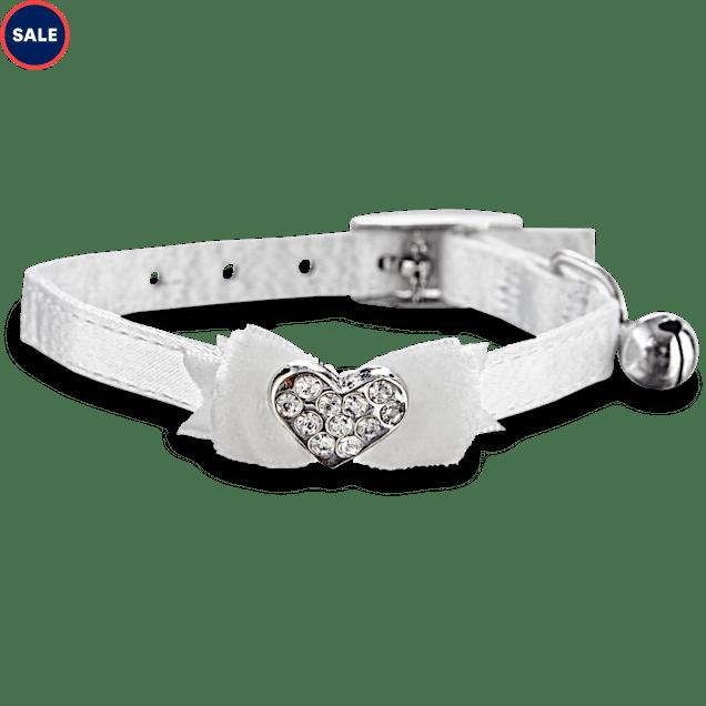 Bond & Co White Fancy Bow & Gem Kitten Collar - Carousel image #1