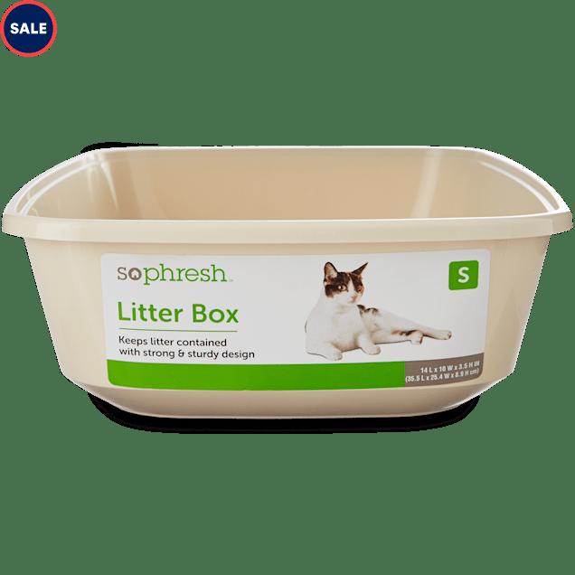 "So Phresh Small Open Kitten Litter Box, Linen 14"" L X 10"" W X 3.5"" H - Carousel image #1"