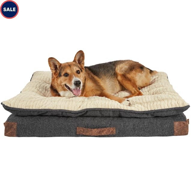 """Harmony Grey Patched Pillowtop Lounger Orthopedic Dog Bed, 40"""" L x 30"""" W - Carousel image #1"""