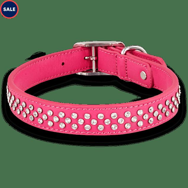 Bond & Co. Leather Bling Pink Dog collar, For Neck Sizes 18-21, Large/Extra Large - Carousel image #1
