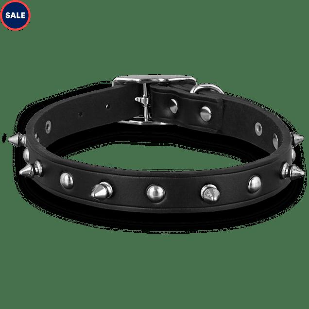 Bond & Co. Black Leather Spike Dog Collar, Large - Carousel image #1