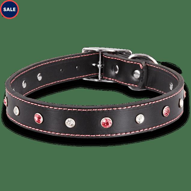 Bond & Co. Pink Jewel Leather Dog collar,  For Neck Sizes 18-21, Large/Extra Large - Carousel image #1