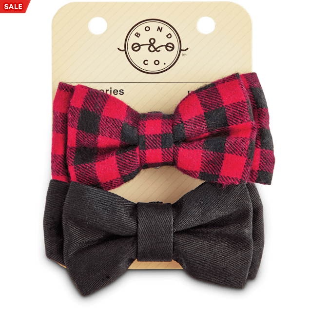 Bond & Co. Buffalo Check Dog Bowtie Set, 2PK - Carousel image #1