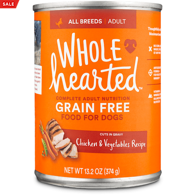 WholeHearted Grain Free Adult Chicken and Vegetable Recipe Wet Dog Food, 13.2 oz., Case of 12 - Carousel image #1