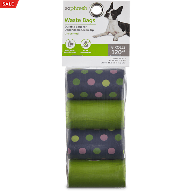 So Phresh Navy Polka Dot Dog Waste Bag Refills, 120 CT - Carousel image #1