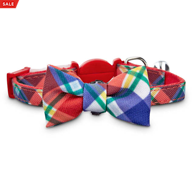 Bond & Co. Red Plaid Kitten Bow Tie Collar, X-Small/XX-large - Carousel image #1