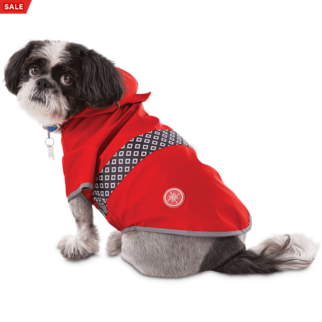 Good2Go Reversible Dog Raincoat in Red, Extra Small - Carousel image #1