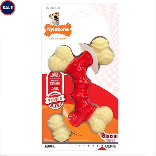 Nylabone Dura Chew Double Bone Bacon Dog Toy, Medium - Carousel image #1