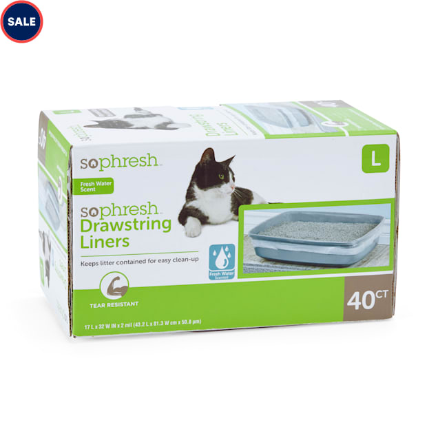 """So Phresh Scented Drawstring Cat Litter Box Liners 17"""" L x 30"""" W, 40 CT - Carousel image #1"""
