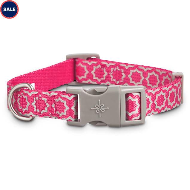 Good2Go Reflective Pink Starburst Dog Collar, Large/X-Large - Carousel image #1