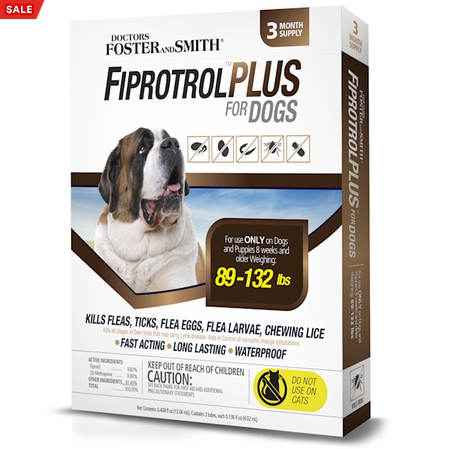 Doctors Foster + Smith Fiprotrol Topical Flea & Tick Control For Dogs 89 to 132 lbs., Pack of 3 - Carousel image #1