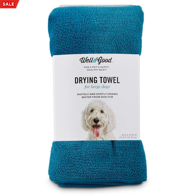 Well & Good Blue Drying Towel for Dogs, Large - Carousel image #1