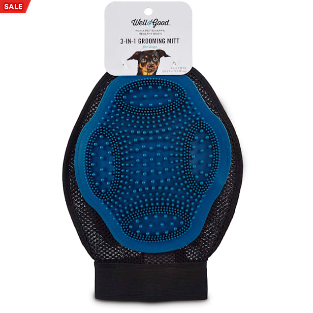 Well & Good Blue 3-in-1 Grooming Mitt for Dogs - Carousel image #1